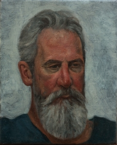 Portrait painting of bearded man