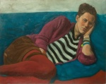 portrait oil painting young woman lying on sofa