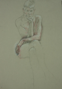 Drawing nude woman detail of arms