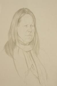Portrait drawings woman in a scarf