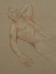 Drawing chalk nude man lying