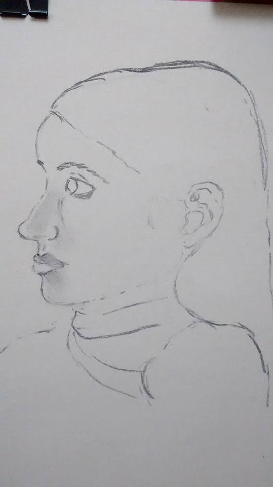 beginner's portrait drawing before teaching