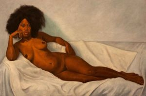 Painting of nude black woman with afro hairstyle