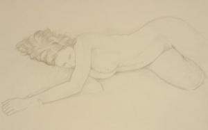 drawing nude woman lying down