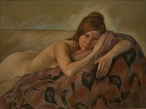 Painting young nude woman lying down