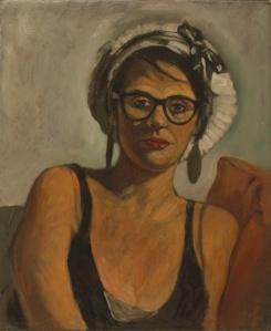 Portrait oil painting young woman hat glasses