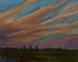 Landscape painting Port Meadow Dusk
