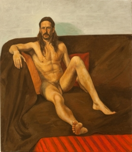 Painting nude man seated