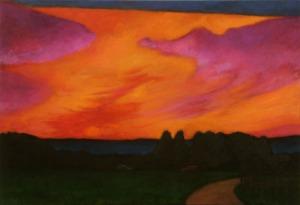 Landscape painting sunset