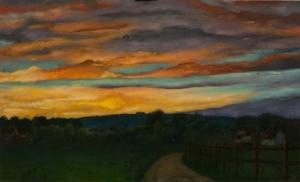 Landscape painting sunset clouds