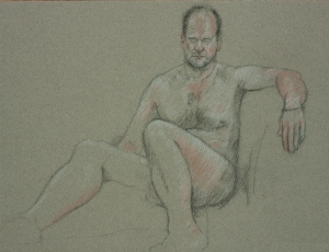 Drawing nude man seated