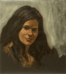 portrait oil painting young woman head sketch