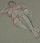 Drawing nude big woman lying on back