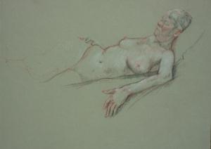 Drawing nude woman lying