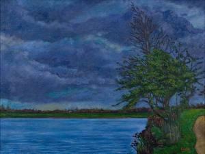 Landscape painting windy river