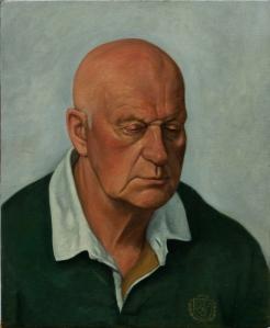 portrait oil painting old bald man
