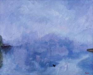 Landscape painting misty river