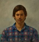 Portrait painting young man checked shirt