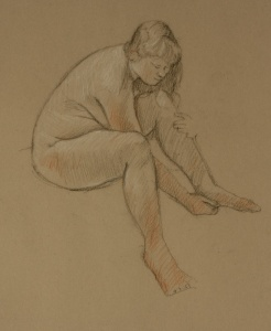 Drawing nude woman seated