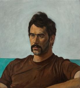 portrait oil painting young man moustache