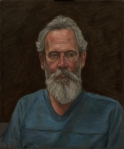 Portrait painting of grey bearded man