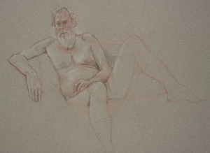 Drawing nude bearded man seated