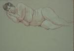 Drawing nude big woman lying o side