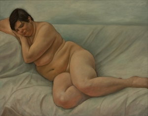 Painting of nude woman lying on white sheet