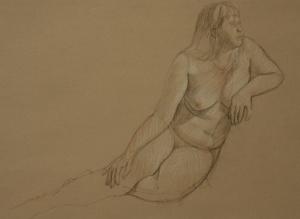 Drawing nude woman kneeling leaning